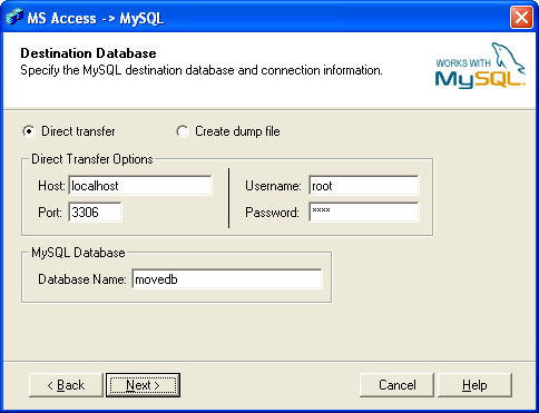 Base de datos MySQL de destino