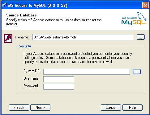 Elegimos la base de datos Microsoft Access