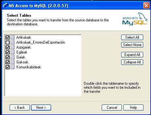 Seleccionamos tablas de Microsoft Access