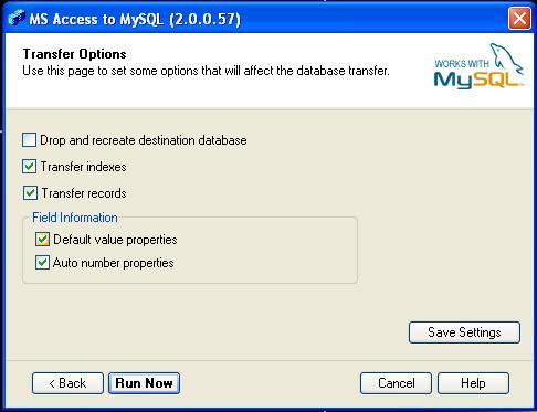 Valores por defecto del MySQL