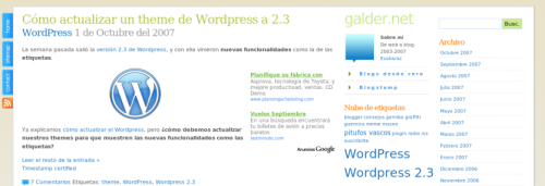 GenkiTheme WordPress 2.3 en Castellano