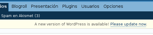 Nueva versión de WordPress disponible