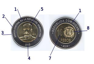 Moneda De 5 Pesos Dominicanos 2 Euros República Dominicana