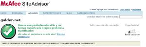 Captura de McAffe Site Advisor