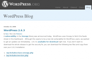 Wordpress 2.6.3 anuncio en el blog de WordPress