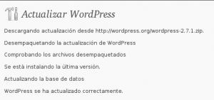 Resultado Actualización de WordPress