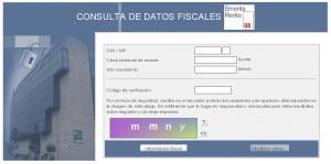 Pantallazo del formulario para ver los datos fiscales