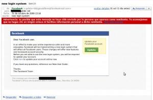 Otro email phishing de Facebook