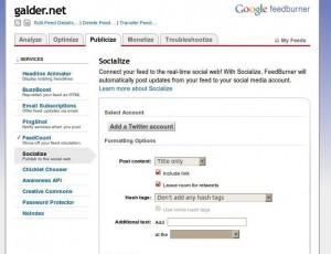 Publicar feedburner en Twitter