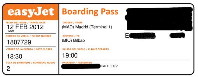 Tarjeta de embarque Madrid Bilbao con Easyjet con retraso