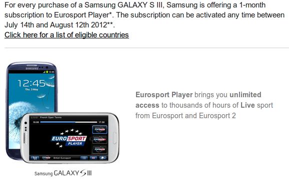En Samsung Galaxy S3 Canal Eurosport gratis