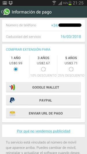 Pagar WhatsApp en Android