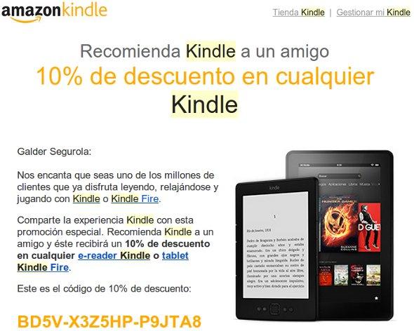 Cupón descuento Kindle 10%