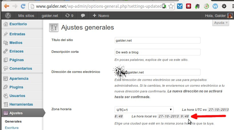 Cambio de hora en WordPress